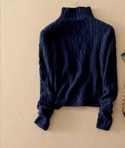 Women Cashmere Wool Sweater Autumn Winter Knitted Turtleneck Pullover Blue//Red