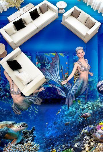3D Blau Ocean Girl 32 Floor WallPaper Murals Wall Print Decal 5D AJ WALLPAPER