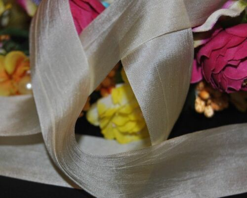 "100/% Silk Habotai Ivory Hand Dyed  Ribbon 1.25/"" wide.Soft Floaty Vintage Wedding"