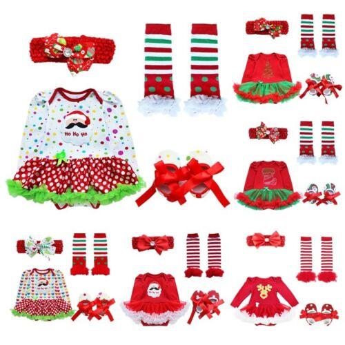 US Baby Girls Christmas Dress Set Santa Claus Costume Kids Tutu Skirts Outfits