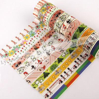 1X Decorative Paper Craft Washi Tape Adhesive DIY Mask Scrapbooking 15mm x 10M