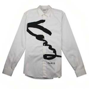 Kenzo-Mens-Knitted-Logo-Slim-Fit-Long-Sleeve-Shirt-White
