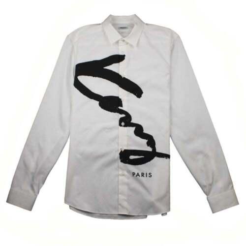 Sleeve Kenzo Shirt Fit White Knitted Long Logo Slim Mens wwBz4qZ