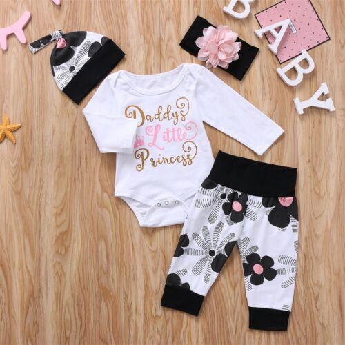 4PCS Newborn Baby Girl Kids Tops Romper+Long Pants Headband Outfits Clothes Set