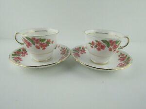 2-Set-Vintage-Colclough-Bone-China-England-Pink-Floral-Gold-Trim-Tea-Cup-Saucer