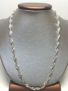 50-8cm-Plata-Maciza-de-Ley-925-Giro-Barbada-4-5mm-Eslabon-Collar-Cadena