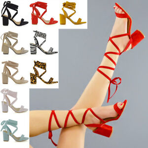 da069cd978b Womens Lace Up Block Mid Heel Ankle Tie Wrap Lace Up Strappy Sandal ...