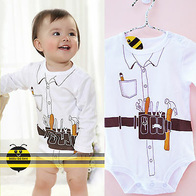 New! Cute & Fun little bob builder costumes Baby playsuit ( 3-24M )