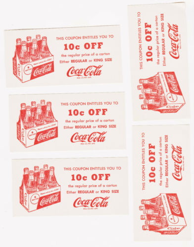 LOT OF 5  Vintage 1950/'s Coca Cola 10¢ OFF Regular or King Size Coupon/'s