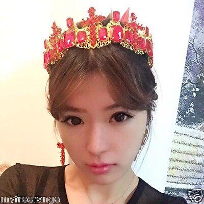 Bridal Rhinestone Baroque Style Red Clear Crystal cross earring crown set HR424