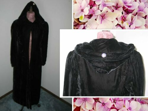 1930's HOODED OPERA COAT Black Vintage Velvet Rhin