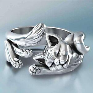 Silber-Niedliche-Katze-Verstellbarer-Ring-Silber-Trauringe-Schmuck-Geschenke