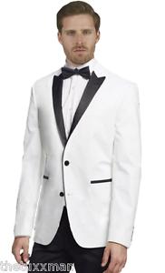 4074761b9c1 New Mens White Tuxedo Dinner Jacket Formal Wedding Black Lapel Pant ...