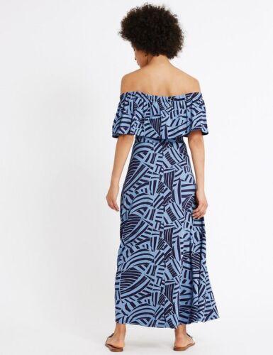 New M/&S COLLECTION Blue Printed Bardot Frill Sleeve Maxi Dress  UK 6 8 10 20 22