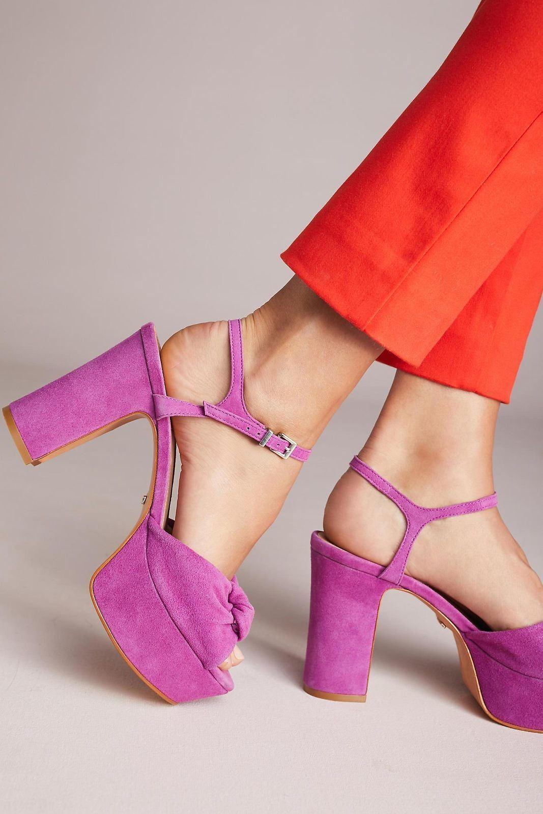 SCHUTZ Thalyta Platform Grape Purple Suede Retro Ankle Strap Flatform Sandales