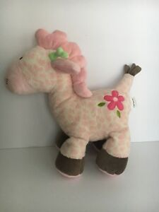 Carters-Pink-Green-Pony-Horse-Plush-Stuffed-Animal-Baby-Toy-Lovey-10-034-MUSICAL