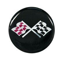 Chevy Corvette Rally Center Emblem Decal Black Cross Flag Set Of 4 175 Diam