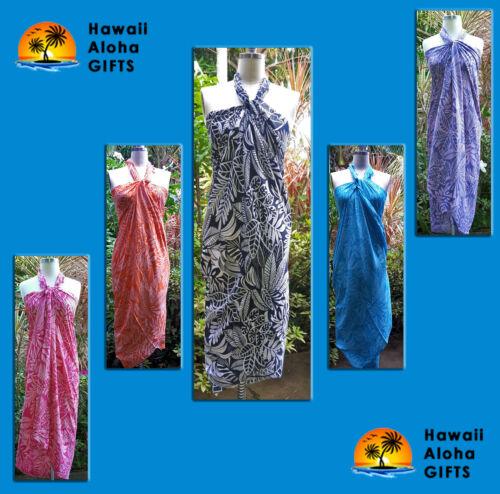 New Hawaii Sarong Pareo White Leaves Hawaiian Luau Cruise Wrap Dress 100/% Rayon