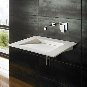 Ultra Sleek Modern 60cm By 50cm Wall Mounted Solid Surface