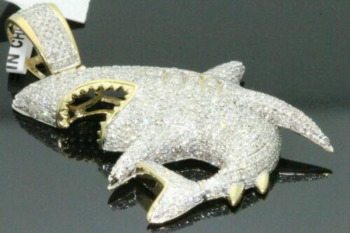 2.5Ct Round Diamond Men/'s 14K Yellow Gold Over Great Shark Jaws Charm Pendant