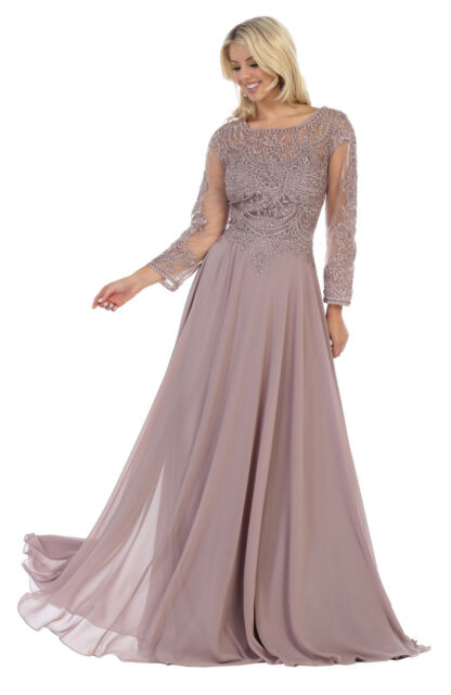 SPECIAL OCCASION LONG SLEEVE FORMAL DESIGNER MOTHER OF THE BRIDE EVENING  GOWN