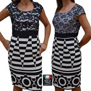 Abiti Eleganti Taglia 4648.Abito Vestito Tubino Elegante Cerimonia Donna Comoda Made In Italy
