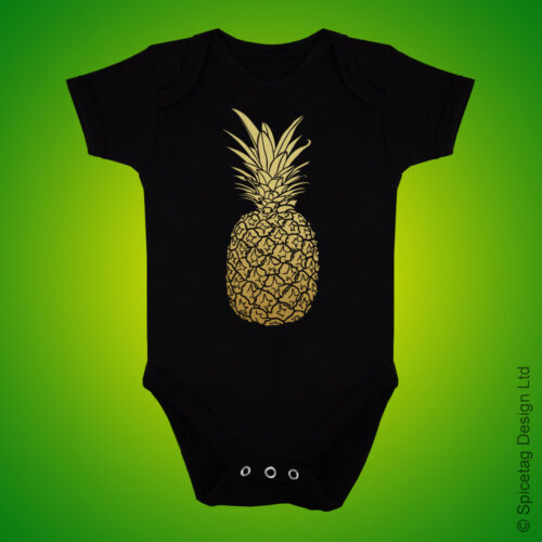 Pineapple Baby Grow Tropical Fruit Newborn Bodysuit Present Gold Gift Shower New