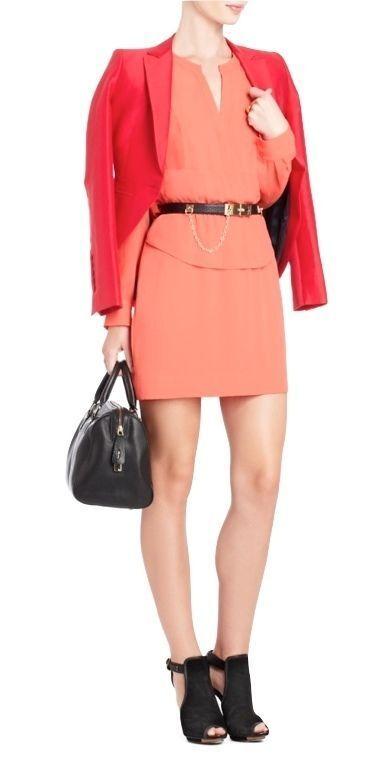 New BCBG DANNA Peplum Shirt Dress Ambrosia Coral S Small NWT
