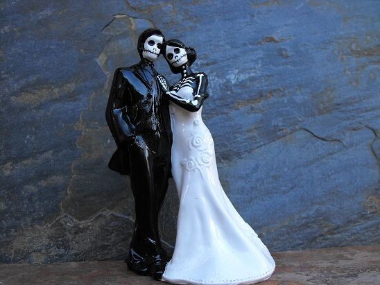 Day of the Dead Dead Dead Wedding Cake Topper With No Veil - 6 Inches f3cefc