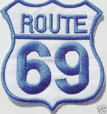 Ricamate patch Moto Route 69 USA BLU BIANCO