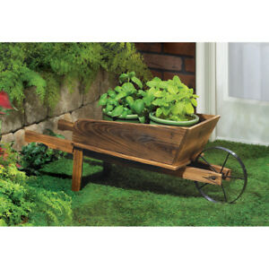 Image Is Loading Wooden Wheelbarrow Country Cart Plant Stand Yard Garden