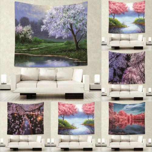 Mat Rug Wall Cherry Camping Beach Beautiful Hanging Tapestry Blossoms Yoga