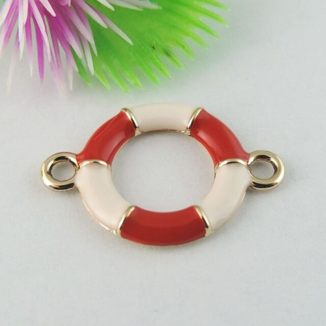 16pcs New Rose Gold Tone Alloy Lifebuoy Round Pendant Connector 28*20mm 39030