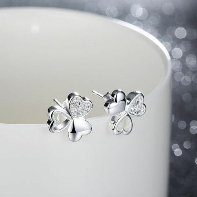 Ear Studs Classic Lucky Clover Silver Plated Crystal Jewelry Earrings Zircon
