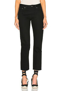 Toteme-Sz-28-Black-Jeans-Straight-Denim-100-Cotton-Ankle-Cropped-Women-Italy