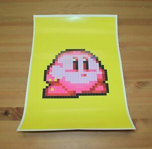 Details About Pixel Art Poster Set Kirby Peach Pikachu Mario