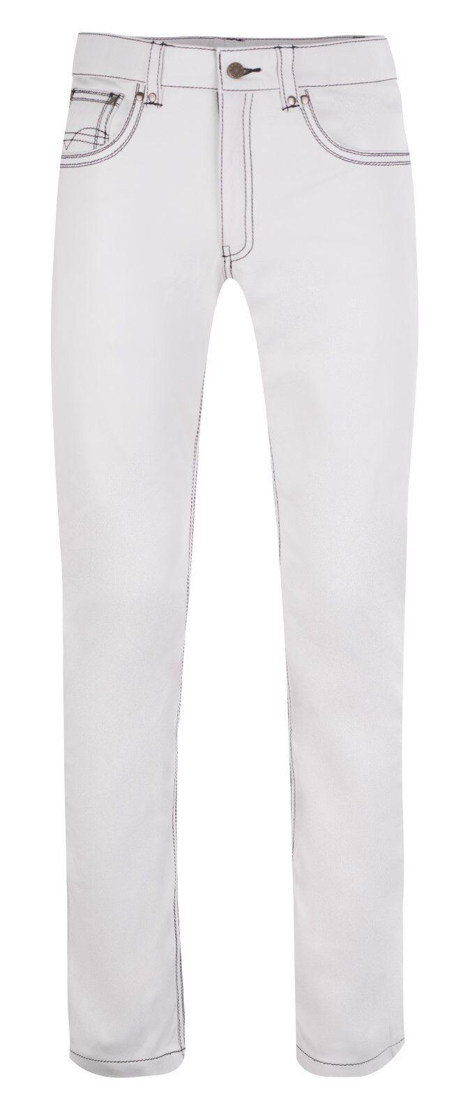 LEDERHOSE weiß Lederjeans schwarze Ziernähte  neu leather trousers pants pants pants Weiß 8688ab