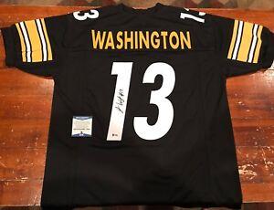 18e6fafdf Image is loading James-Washington-Autographed-Custom -Pittsburgh-Steelers-Black-Jersey-