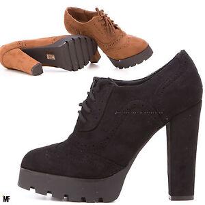 Francesine VERA PELLE scamosciata scarpe stringate derby Donna