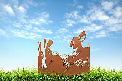 SchöN Edelrost Hasenwiese Halbrund Gebogen Dekoration Ostern Frühjahr Terrasse Garten Kataloge Werden Auf Anfrage Verschickt