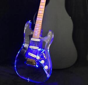Crystal-Electric-Guitar-LED-Light-Acrylic-Body-CNC-Made-Alnico-Pickups-Brass-Nut