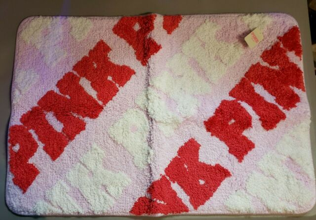 NEW Victoria's Victoria Secret PINK repeat logo soft Rug Bath Mat red white NWT