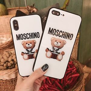 meet c63c1 f2646 Details about Fashion Moschino Bear Glass Case Cover for iphone 6 7 8 Plus  X XR XS MAX Apple