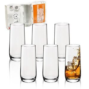 3-or-6-Bormioli-Rocco-Loto-350ml-Tall-Tumber-Hi-Ball-Drinking-Juice-Glasses-Cup