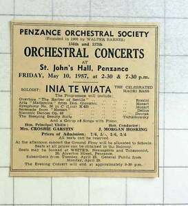 1957 Orchestral Concerts St John039s Hall Penzance Inia Te Wiata Mrs Crosbie Gars - <span itemprop=availableAtOrFrom>Bishop Auckland, United Kingdom</span> - If for any reason you are not satisfied with your item, do let us know. If you wish to return it, you may, within 14 days, and we will issue you with a full refund. Most purchases - Bishop Auckland, United Kingdom