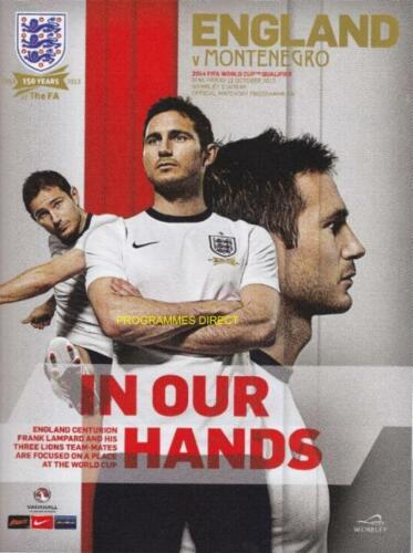 ENGLAND v MONTENEGRO 2013 OFFICIAL PROGRAMME WORLD CUP QUALIFIER