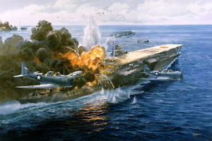 034-Pawn-Takes-Castle-034-Tom-Freeman-Battle-of-Midway-Print-Attack-on-Akagi-Carrier