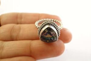 5ct-Triangular-Mystic-Topaz-Solitaire-Sterling-Silver-Twisted-Band-Ring-Size-7