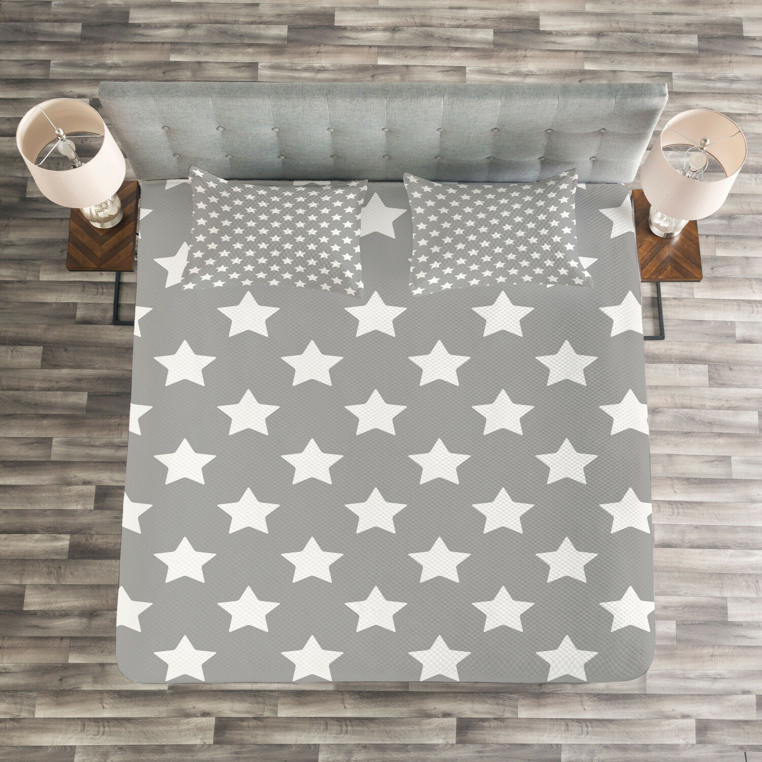 Modern Quilted Bedspread & Pillow Shams Set, Artwork with Big Stars Print