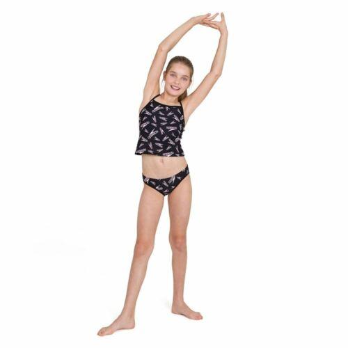 Black Speedo Junior Girls/' Swimsuit Allover Tie Tankini